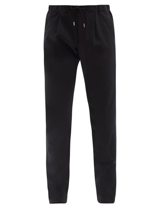 Giorgio Armani - Drawstring-waist Pleated Wool-twill Trousers - Mens - Dark Navy