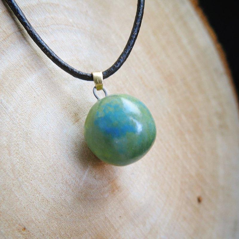 香水精油項鍊 綠釉藍斑紋 自然產色 陶藝 擴香