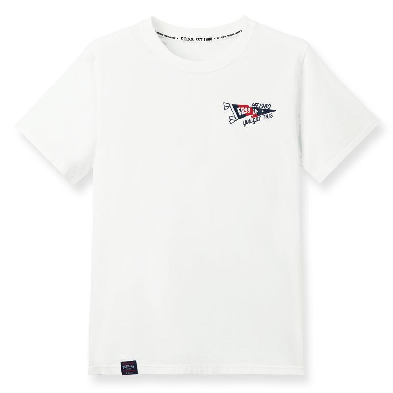 美式旗幟飄揚撞色舒棉T恤(米白)-男