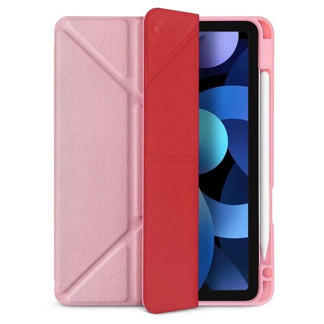 JTLEGEND iPad Air 2020 Amos 10.9吋 相機快取多角度折疊布紋皮套(含Apple pencil槽) - 櫻花粉