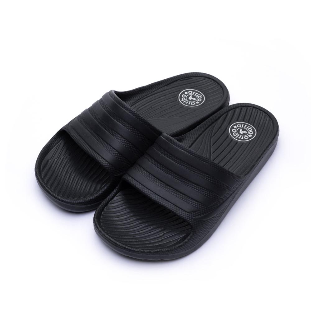 ARRIBA艾樂跑男鞋-素色 一片式 防水拖鞋-黑(61429)