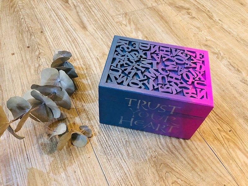 相信自己的心 木盒 漸層 英文字母收納 紙藝拼貼 禮物【限量現貨
