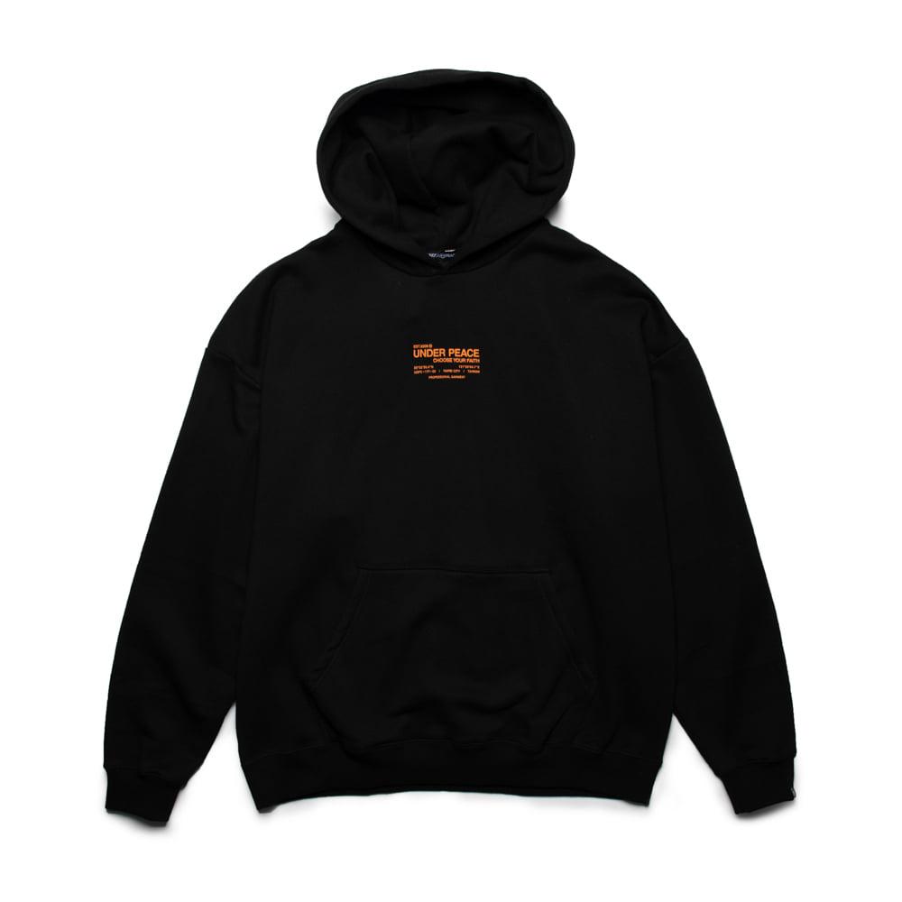 UNDER PEACE - 20AW STANDARD / OVERSIZE HOODED 編碼 寬版 帽T (黑橘)
