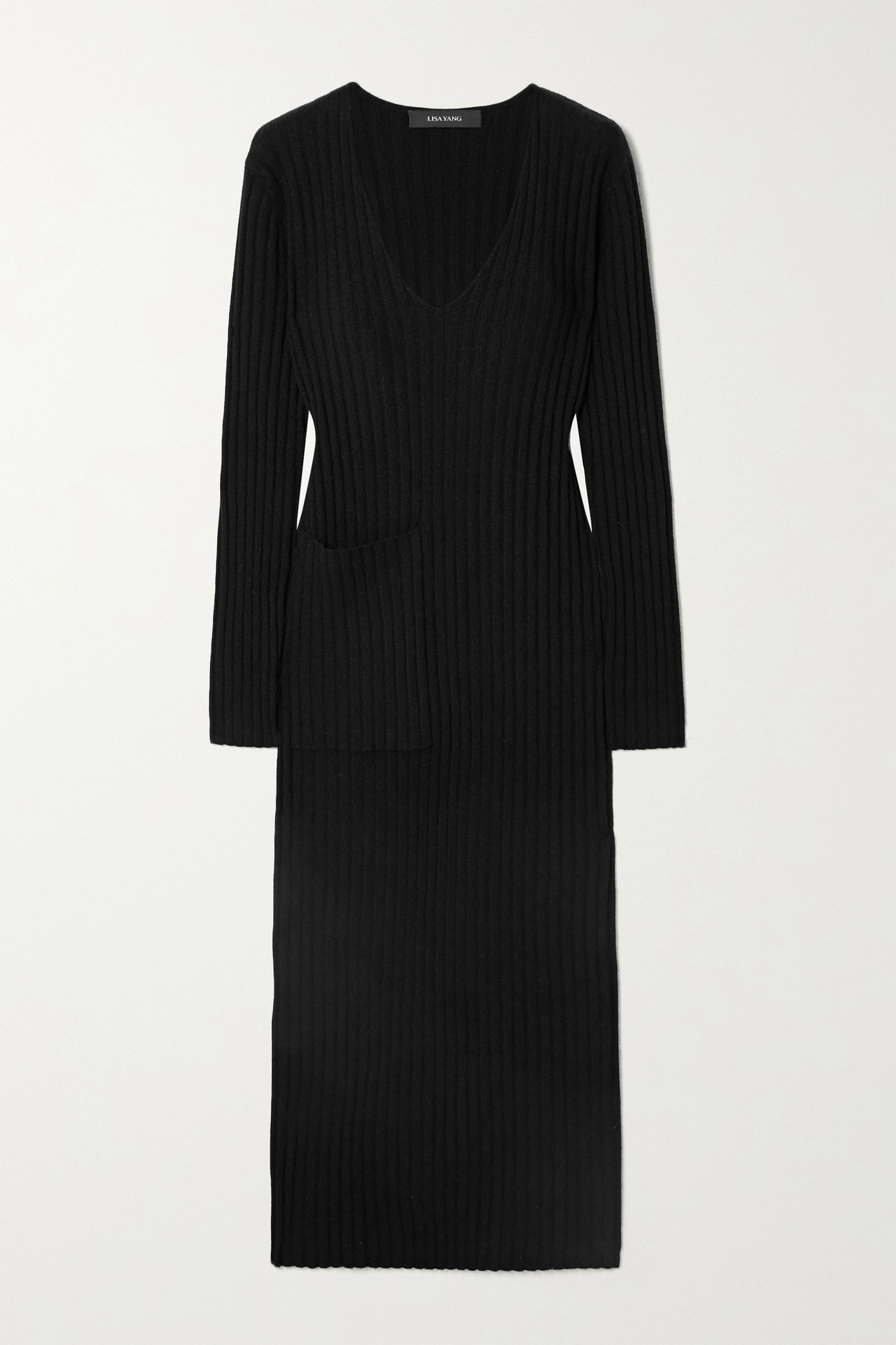 LISA YANG - Willow Ribbed Cashmere Midi Dress - Black - 0
