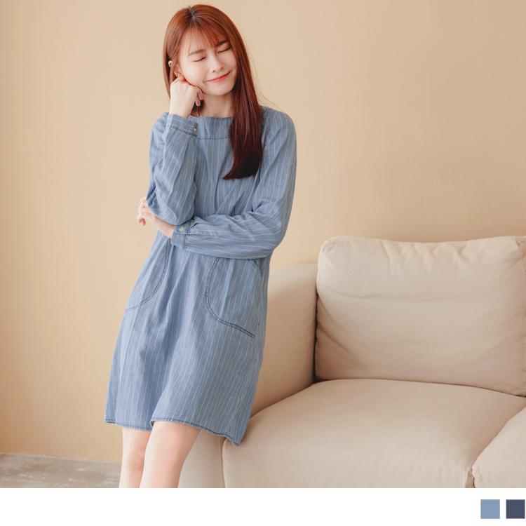 高含棉H-LINE條紋單寧洋裝/長版上衣
