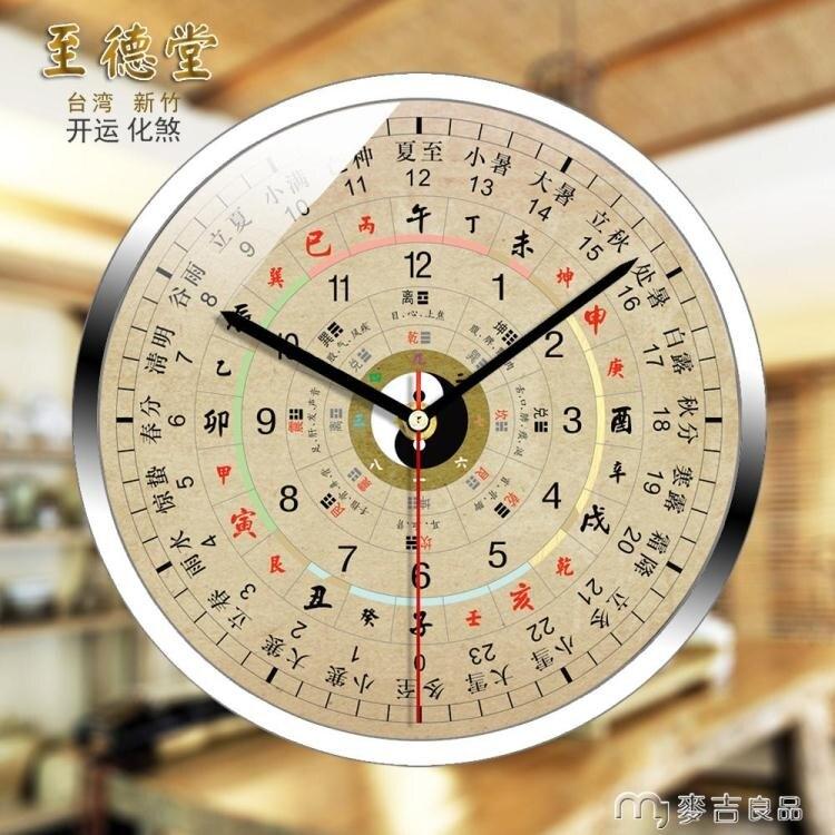 掛鐘八卦十二時辰24小時子午流注錶美容院鐘錶客廳中掛鐘五行養生鐘YYS速發免運 時尚學院