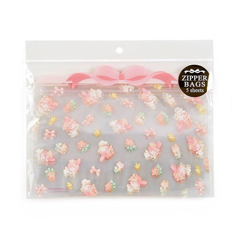 五入透明夾鏈袋組 美樂蒂melody 花朵 G21 糖果袋 食物袋 收納小物 密封袋 保存袋 可重複使用 環保 真愛日本