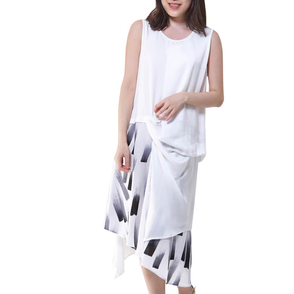 奧黛棉 歐風設計無袖洋裝一白 中大尺碼(17121769) 背心  中F 長版 現貨