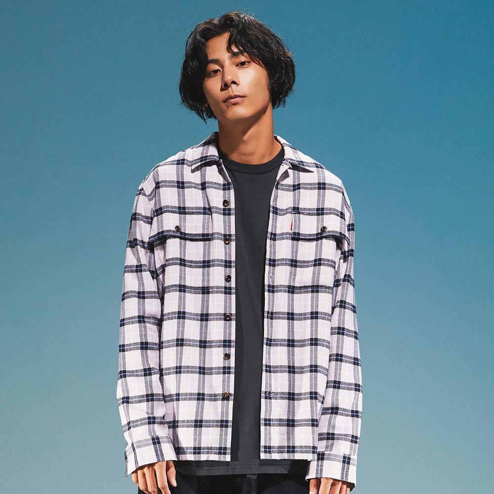 Levis 男款 格紋襯衫 / 滑板系列 / 寬鬆休閒版型 / 香芋紫-熱銷單品