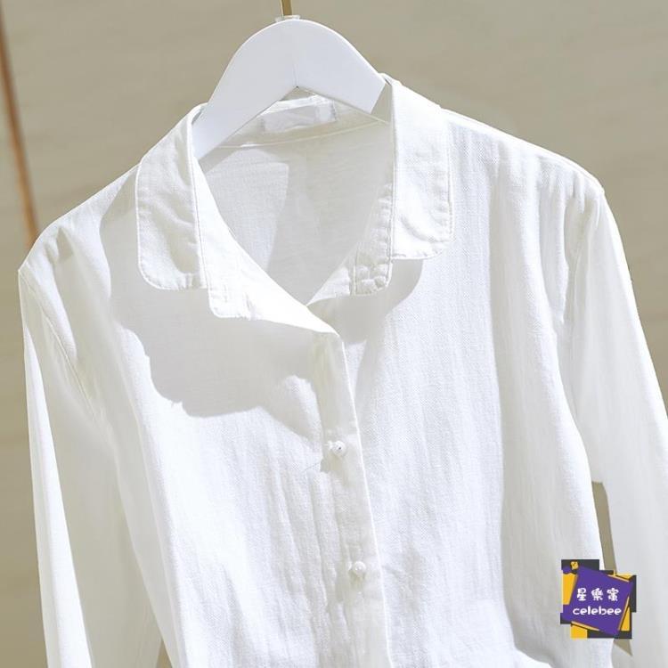 襯衫 棉麻白色襯衫女2020春秋新款寬鬆韓版長袖原宿襯衣上衣設計感小眾