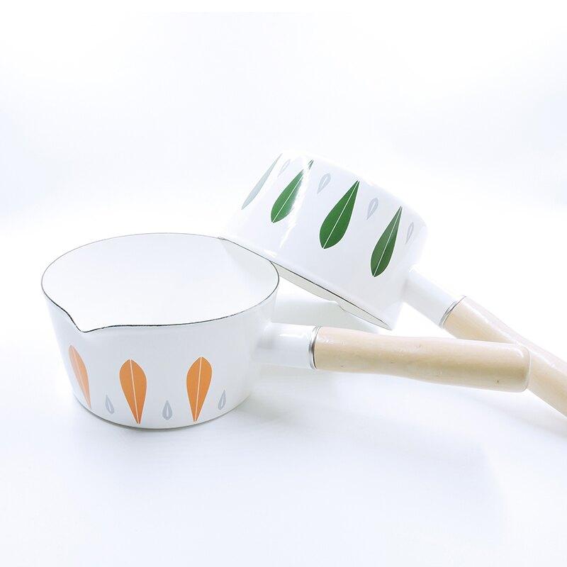 日式葉子彩繪琺瑯鍋 【來雪拼】【現貨】牛奶鍋 泡麵鍋