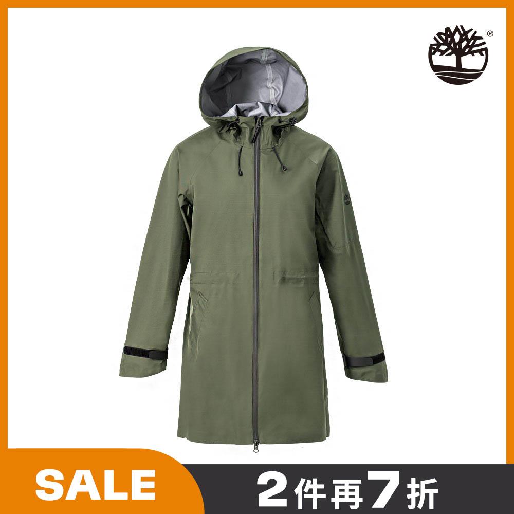 Timberland 女款葡萄葉綠尼龍長版連帽外套|B5105A58