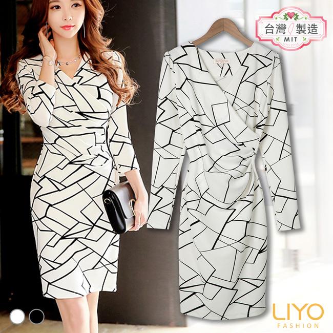 洋裝-LIYO理優-幾何修身洋裝-E636014-此商品零碼不可退換貨