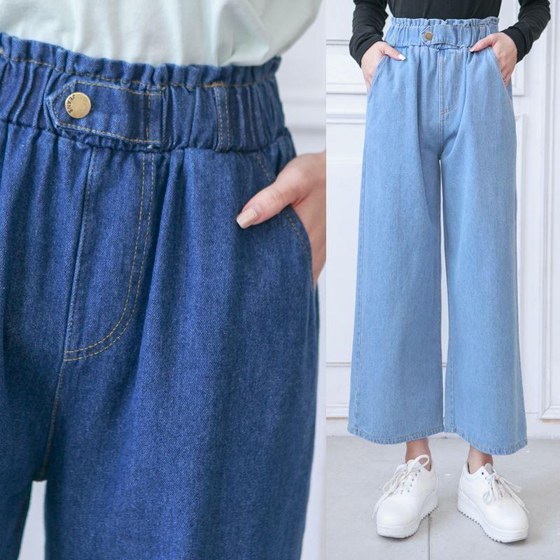鬆緊腰釦造型牛仔寬褲-eFashion 預【P15725880】