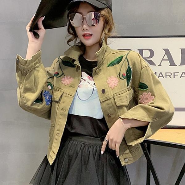 韓版刺繡釘珠短外套開衫s-m春秋款寬松百搭學生長袖上衣女F139紅粉佳人