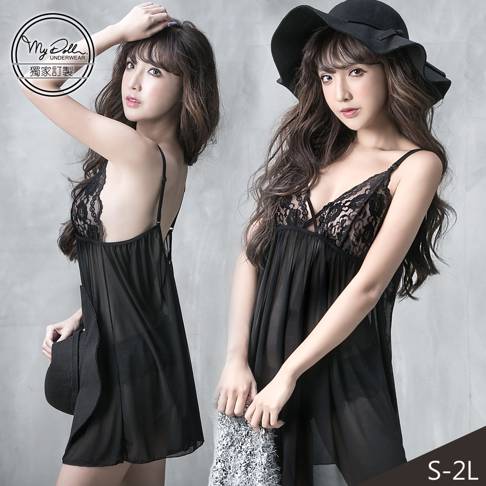 【熱銷獨創中大尺碼】MyDoll 巴黎女伶x微透性感網紗睡衣(黑色/S-2L適穿)