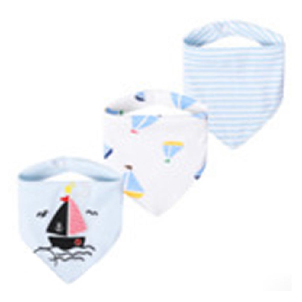 三角口水巾 純棉防水按扣圍兜兜 三件組 動力小帆船【CH003A1456】