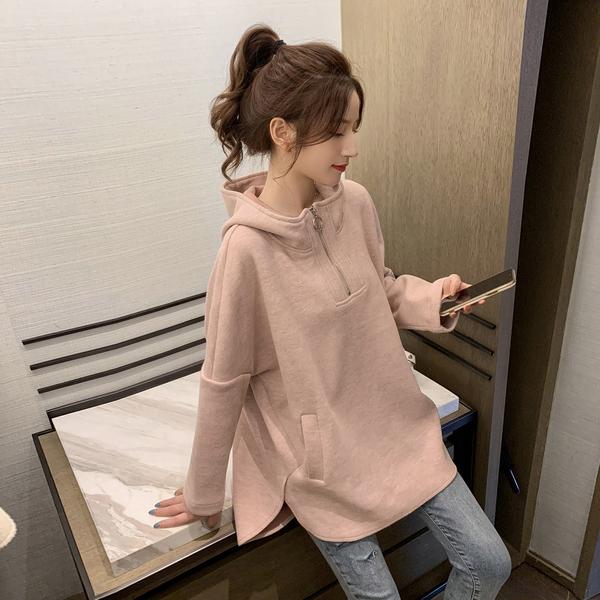 9th street 拉鍊連帽燕尾側邊長版上衣(共二色)(內磨毛)(NG1)