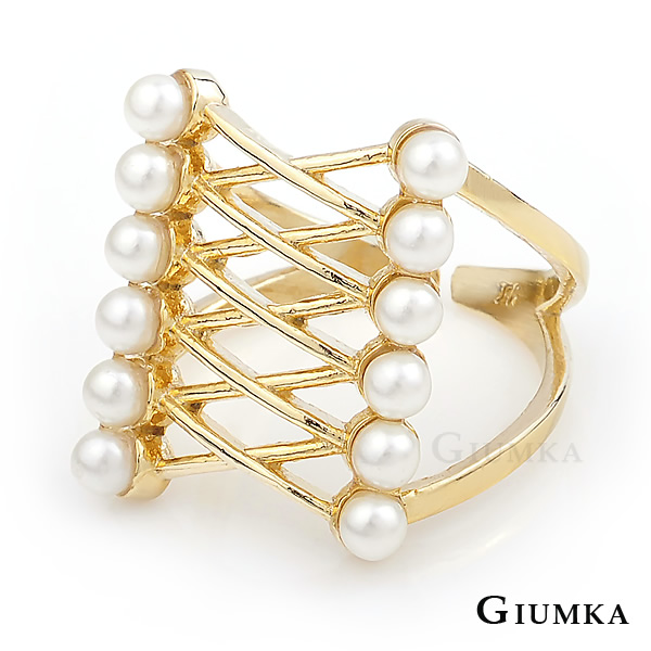 GIUMKA 正韓貨雙排珍珠交叉開口戒指 精鍍黃K 韓劇相似款 MR04028