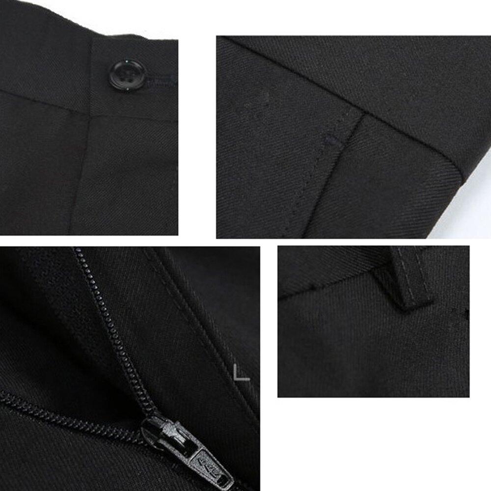 韓版低腰窄版免燙西褲,平面素色黑