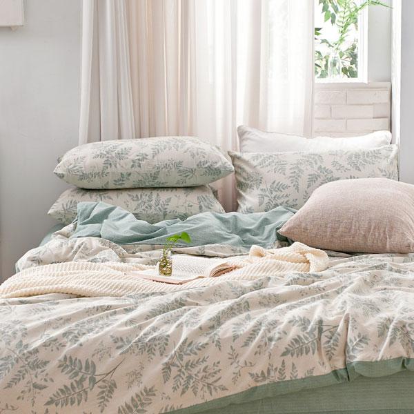 床包被套組(鋪棉兩用被套)-單人/200織/ 精梳棉三件式 / 霧時之森 台灣製