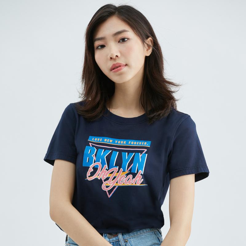 閃電動感合身純棉T恤(丈青)-女