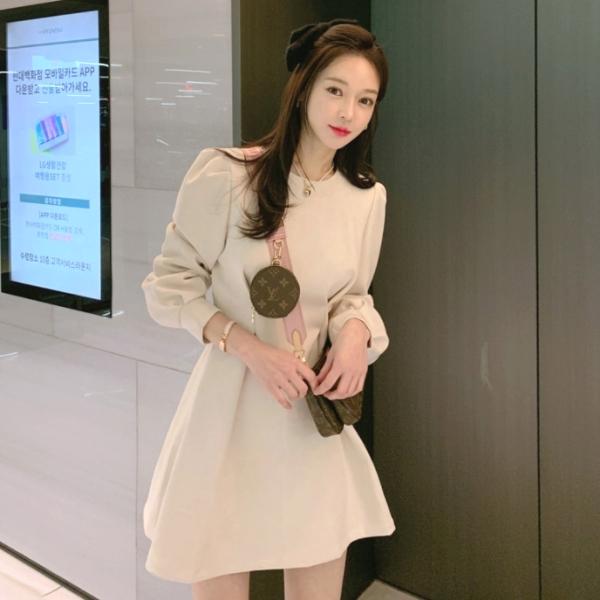 連身裙.優雅顯瘦素面麂皮絨公主袖縮腰短版洋裝.白鳥麗子