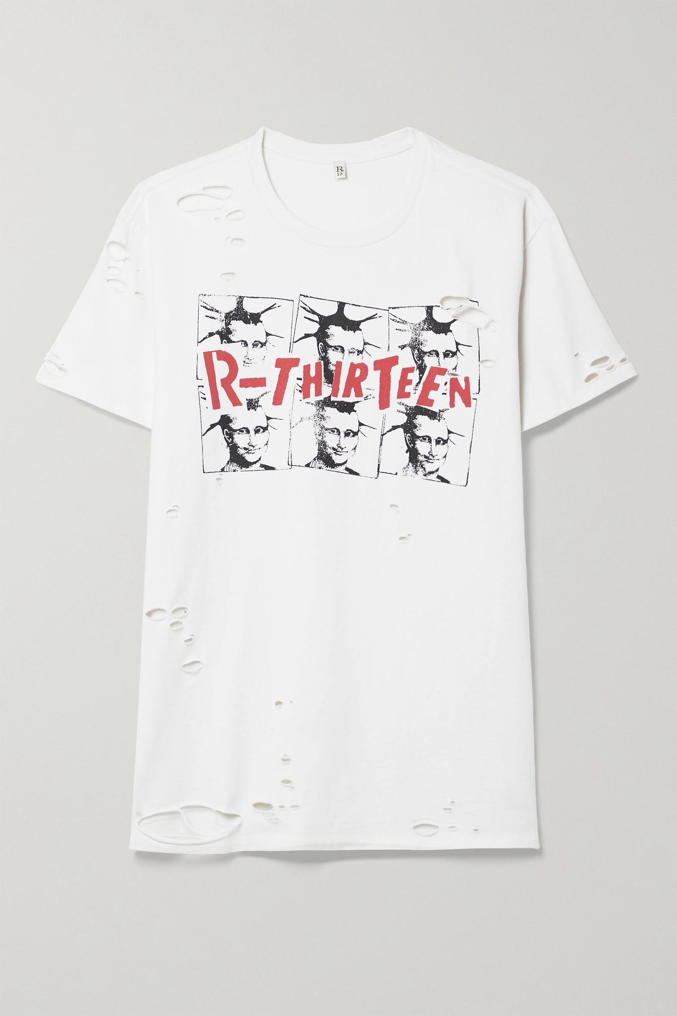 R13 - Mona Lisa Boy Distressed Printed Cotton-jersey T-shirt - White - x small