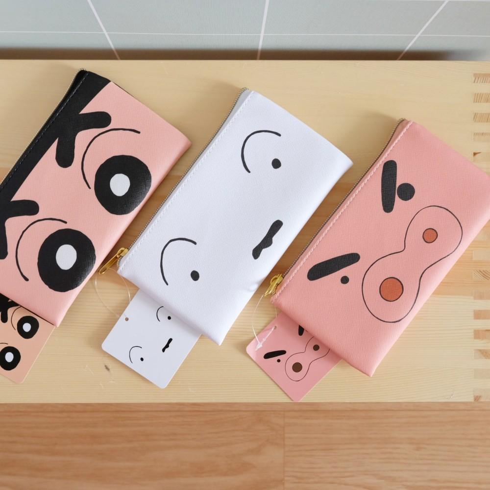 《蠟筆小新》日本商品 小新系列皮質收納袋 筆袋 小白 左衛門