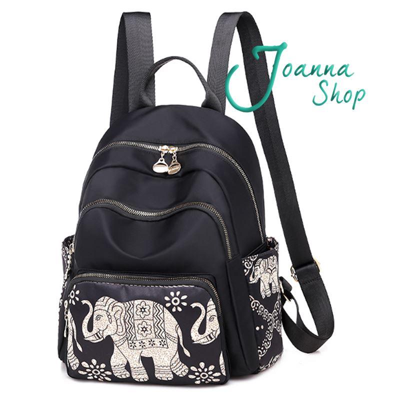 新款時尚多福大象布藝術休閒尼龍背包牛津布後背包1-Joanna Shop