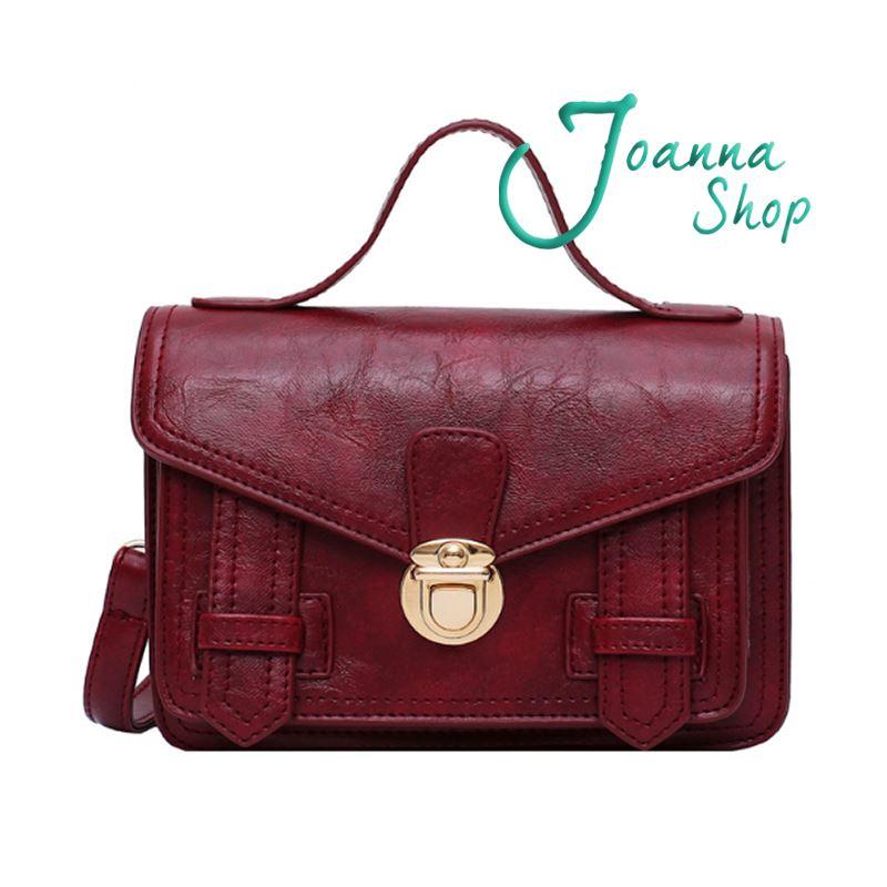 小資女新款金屬扣郵差手提質感百搭時尚學院斜背包3-Joanna Shop