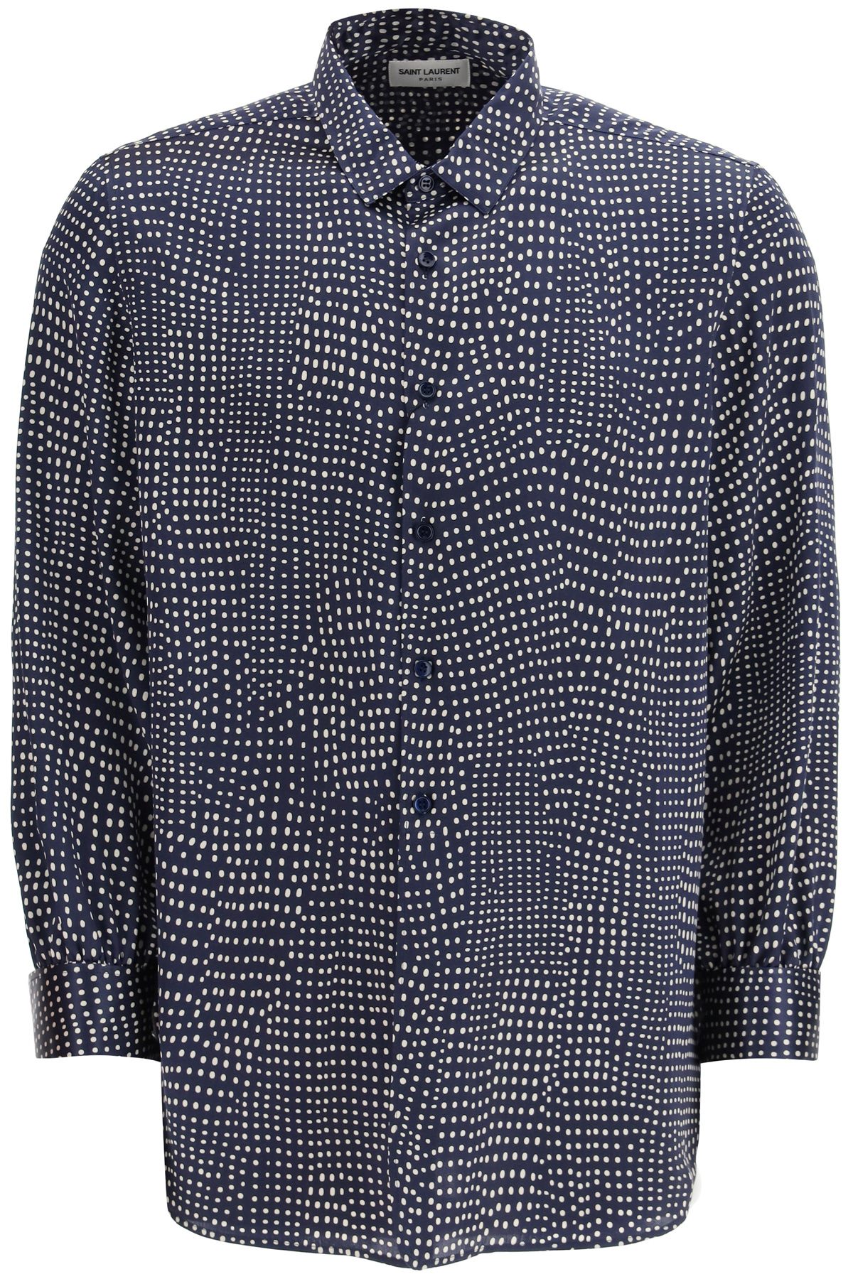 SAINT LAURENT POLKA DOT SILK SATIN SHIRT 40 Blue, White Silk
