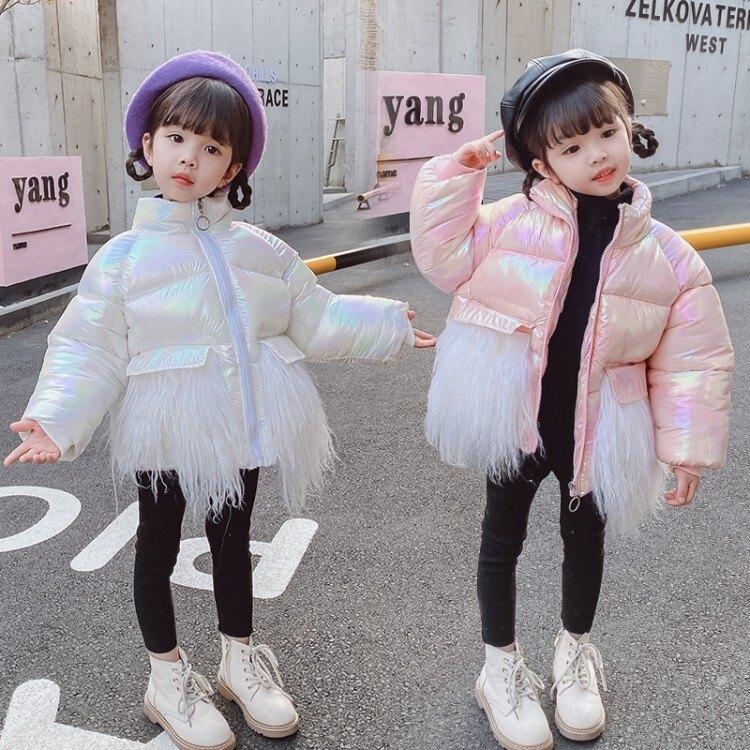 女童棉衣2021新款冬季加厚1洋氣2女寶寶3亮皮面包服4歲羽絨棉服潮春季夏季 時尚學院