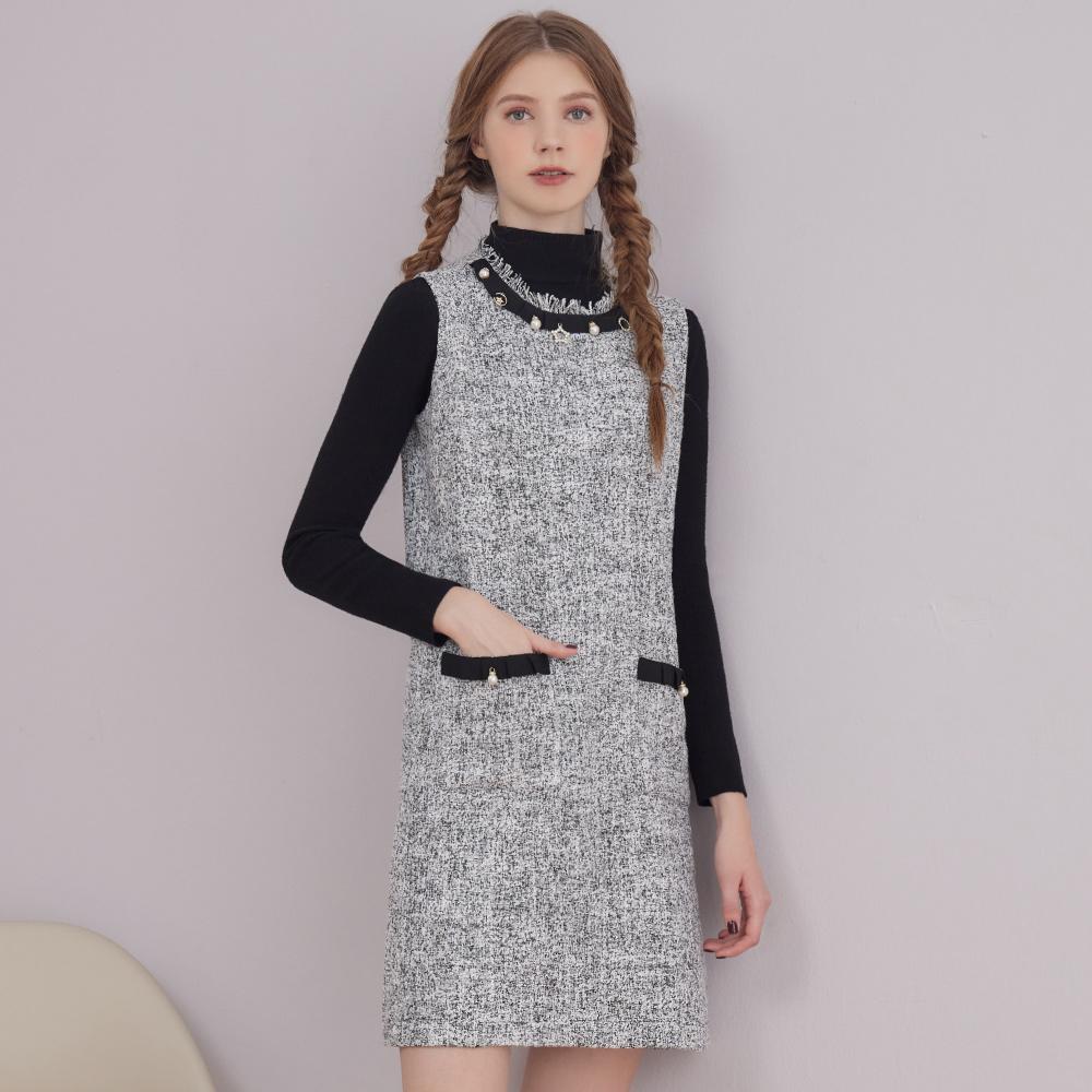 niceioi優雅小香風珍珠織帶背心洋裝