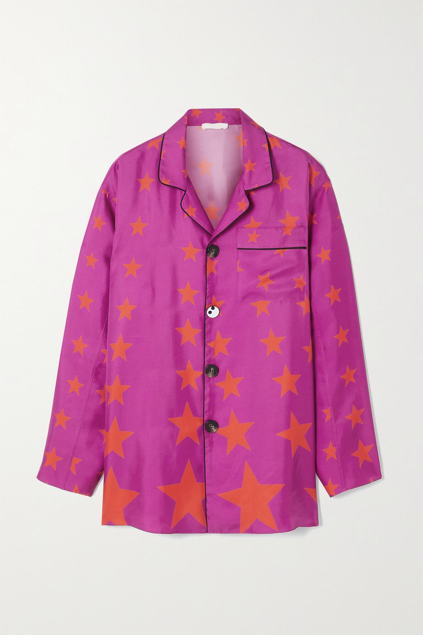 AZ FACTORY - Pijama Valentine Printed Silk-twill Shirt - Pink - FR34