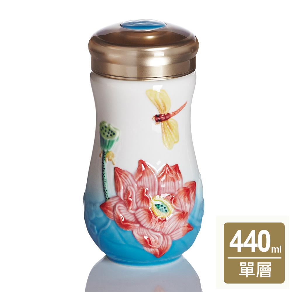 乾唐軒活瓷 | 蜻蜓夏荷隨身杯 / 大 / 單層 /海碧彩