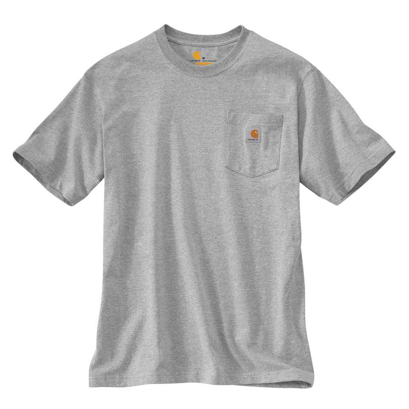 CARHARTT - K87 HGY 美線 Pocket Tee 口袋 短T 素T (HGY 淺灰)