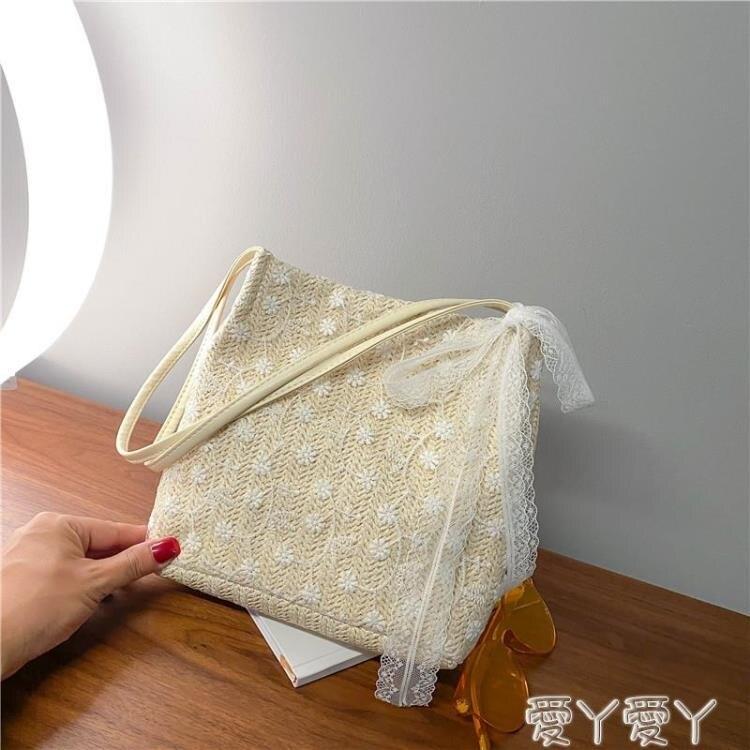 編織包 夏天仙女包包2021新款韓版草編蕾絲側背包手提包大容量水桶購物袋