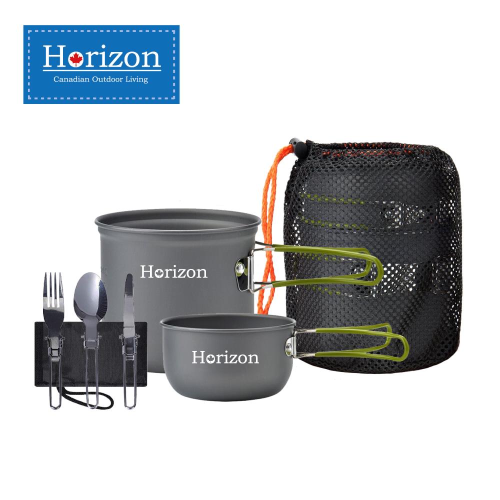 【Horizon 天際線】輕量化野營鍋餐具五件組(春芽綠/晨曦橘)