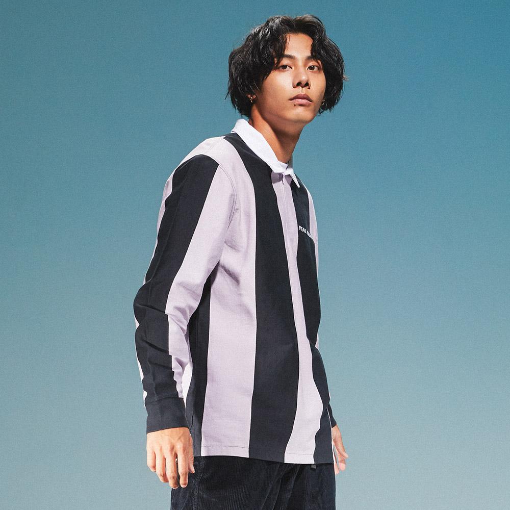 Levis 男款 長袖橄欖球T恤 / 滑板系列 / 潮流黑紫條紋-熱銷單品