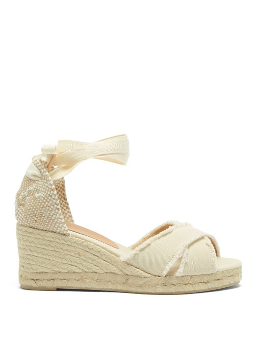 Castañer - Bluma 60 Canvas & Jute Espadrille Wedges - Womens - Cream