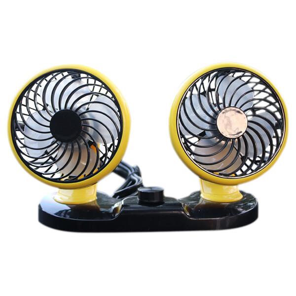 智能雙頭扇霸  附後座掛鉤 汽車用電風扇 車載12v桌面雙吹風扇 可360度調整 2段式風力