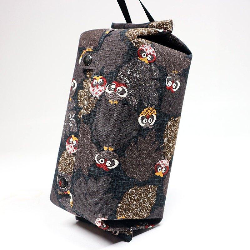 可掛式 收納包 衛生紙 面紙套 - 圓圓 貓頭鷹 (咖)