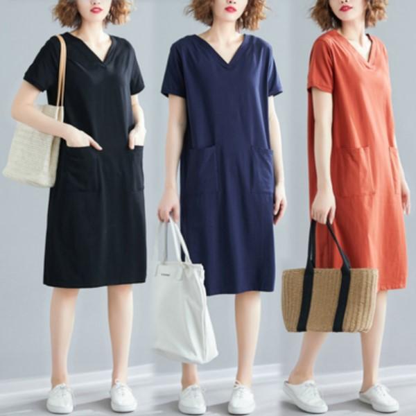 XL-4XL實拍大碼女裝寬鬆短袖連身裙短袖洋裝(三色)-凱西娃娃