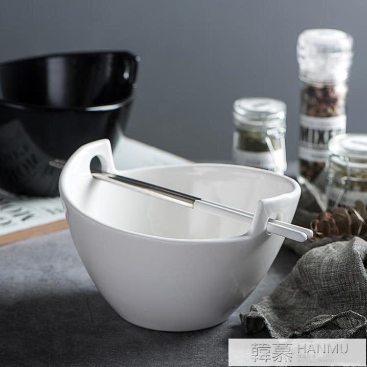 日式泡面碗陶瓷大號湯碗創意雙耳大碗吃飯碗拉面碗家用餐具斗笠碗【居家家】