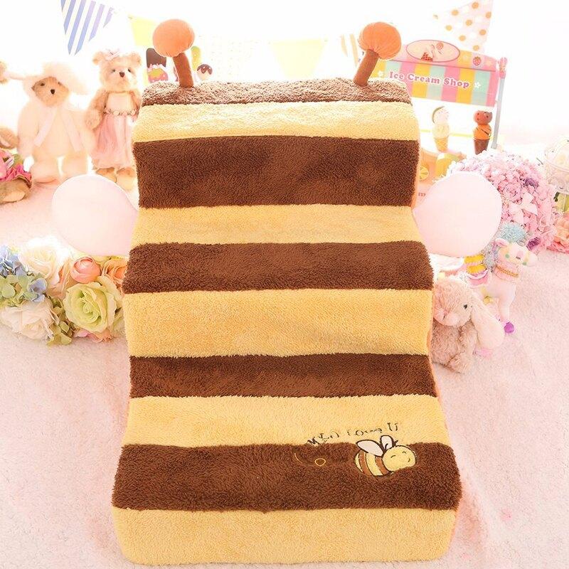 寵物樓梯 小蜜蜂樓梯 寵物狗狗臺階 三層可愛小型犬約克夏狗狗上床沙發樓梯『XY11096』