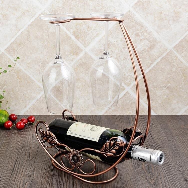 現代簡約紅酒架擺件歐式創意家居擺設紅酒杯架倒掛家用葡萄酒瓶架 AT
