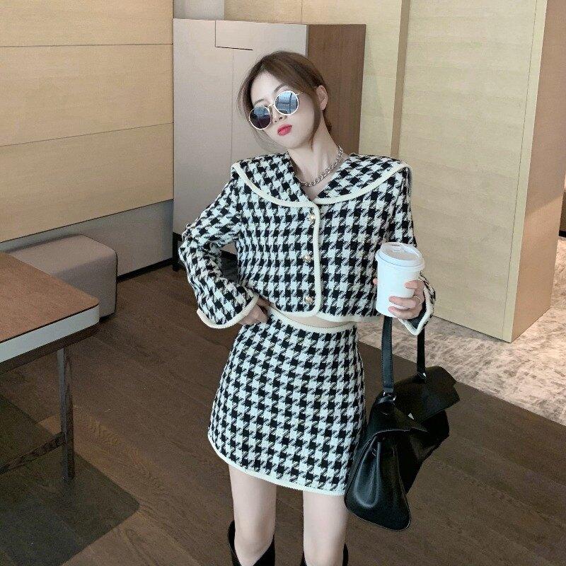 千鳥格呢子外套高腰包臀半身裙兩件套女2021秋季新款名媛氣質套裝1 愛尚優品 五折特惠