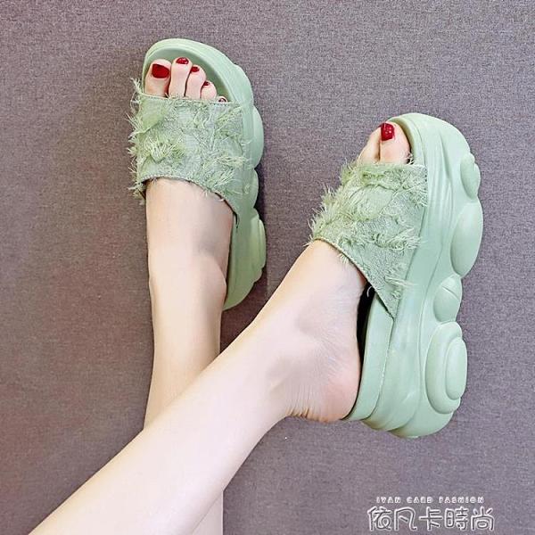 鬆糕厚底拖鞋女夏季時尚外穿2020新款百搭仙女增高沙灘一字涼拖鞋 依凡卡時尚