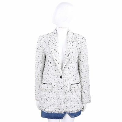 KARL LAGERFELD Boucle 白色粗花呢長版西裝外套